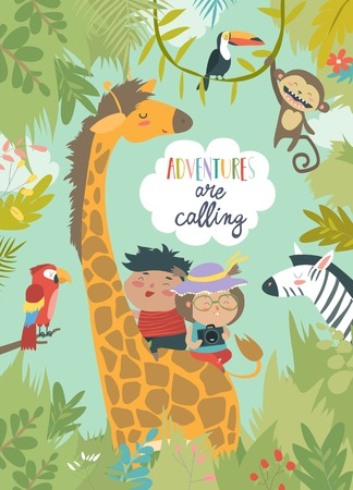 Children riding giraffe Stock Illustratie