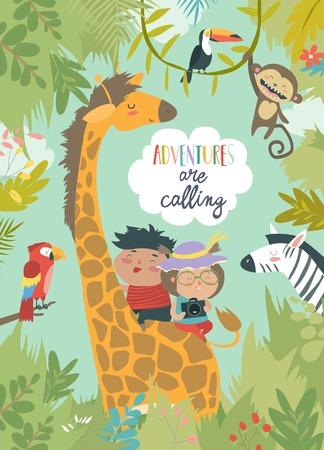 Children riding giraffe Illustration