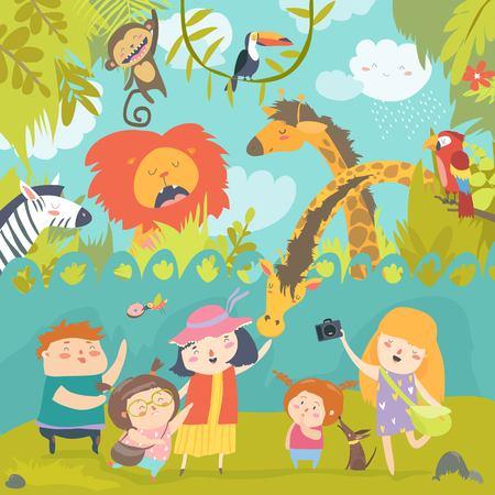 Happy children in zoo with wild african animals Illustration
