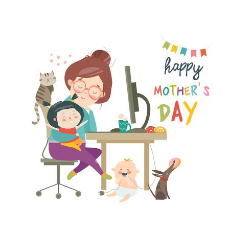 Working at home mother, freelancer with two kids illustration.