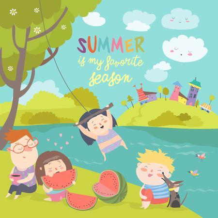 Kids eating watermelon. Summer picnic by the river bank Ilustração