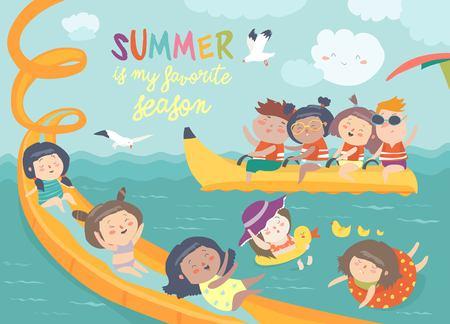 Kids playing and enjoying at a water park vector illustration