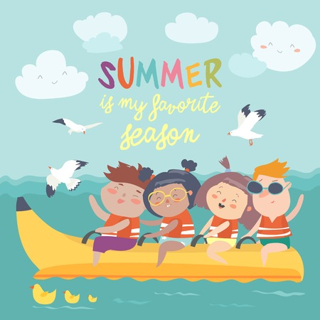 Happy kids riding a banana boat. Vector illustration
