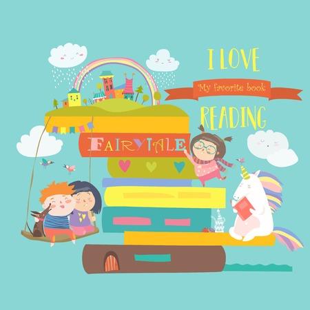 Concept de conte de fées avec livre, licorne et enfants