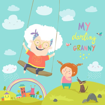 Old woman swinging on a baby swing 일러스트