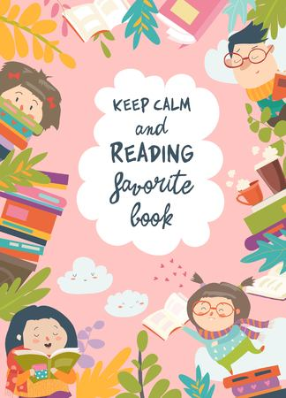 Cadre mignon composé d'enfants lisant des livres