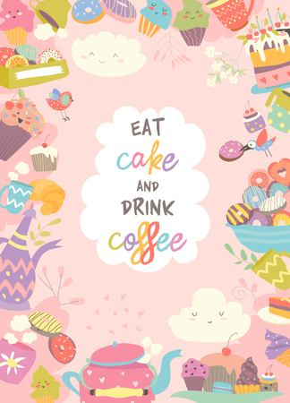 Cute frame composed of cup, cake and coffee Foto de archivo - 101078178