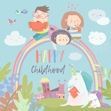 Happy kids on rainbow with magical unicorns