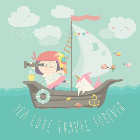 Happy girl with her unicorn boating at their ship Illustration