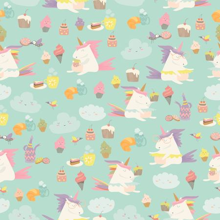 Vector cartoon seamless pattern unicorn with cake and coffee. Vector illustration