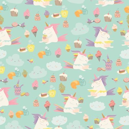 Vector cartoon seamless pattern unicorn with cake and coffee Stock Photo