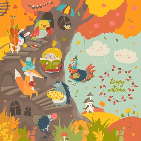 Cute treehouse with little girl and animals in autumn park Foto de archivo - 105300708