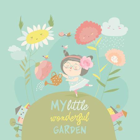 Pretty girl watering flower Stock Illustratie