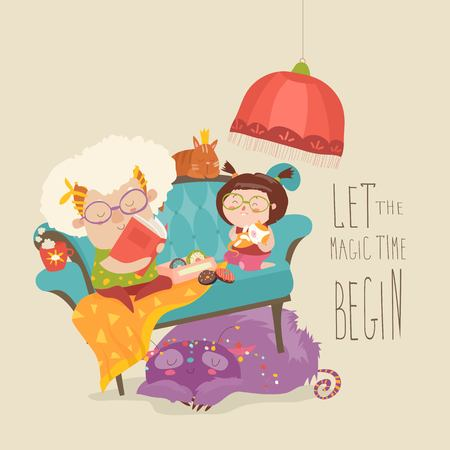 Großmutter liest ihrer Enkelin Märchen vor