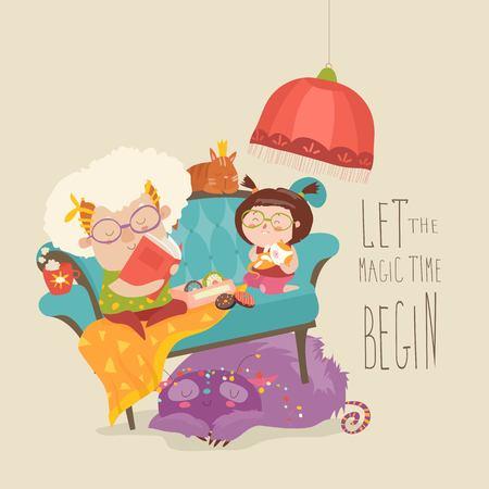 Grootmoeder die sprookjes voorleest aan haar kleindochter