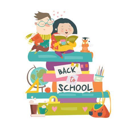 Niño y niña sentados sobre montones de libros. De vuelta a la escuela