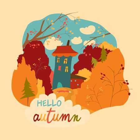 Little house in the autumnal forest