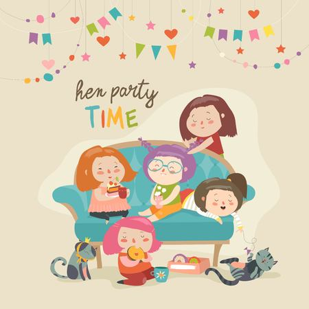 Group of young women drinking tea and talking to each other. Girls spending time together at home Illustration