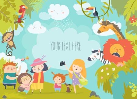 Gelukkige kinderen in dierentuin met wilde Afrikaanse dieren. vector illustratie Vector Illustratie