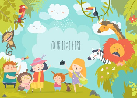 Happy children in zoo with wild african animals. Vector illustration Banque d'images - 115093809