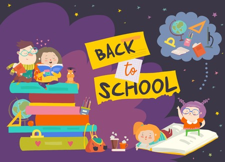 Boy and girl sitting onpiles of books. Back to school. Vector illustration