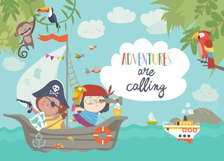 Cute pirates sailing in their ship. Vector illustration Ilustração