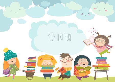 Grupa dzieci kreskówki, czytanie książek