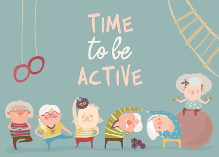 Cartoon elderly people doing exercises. Vector illustration
