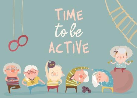 Kreskówka starszych ludzi robi ćwiczenia. Ilustracja wektorowa
