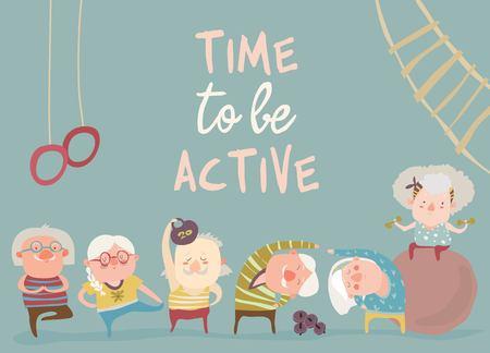 Cartoon elderly people doing exercises