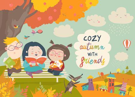 Szczęśliwe dzieci, czytanie książek w parku jesień. Ilustracji wektorowych
