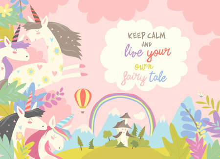 Cute magic unicorns and castle