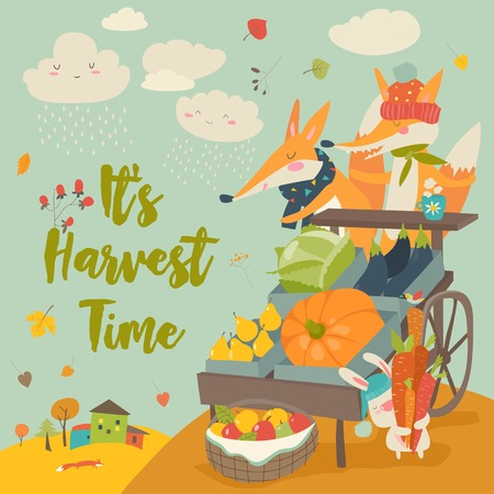 Cute foxes with wheelbarrow with fruits and vegetables in autumn forest. vector illustration