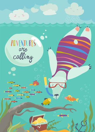 Cute polar bear snorkeling and looking at the fish. Vector illustration