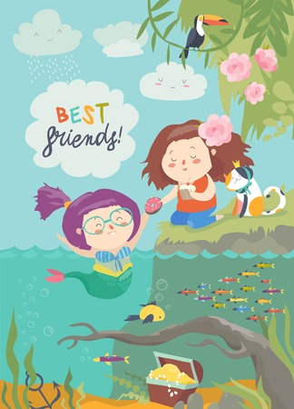 Cute mermaid and girl are best friends. Vector illustration