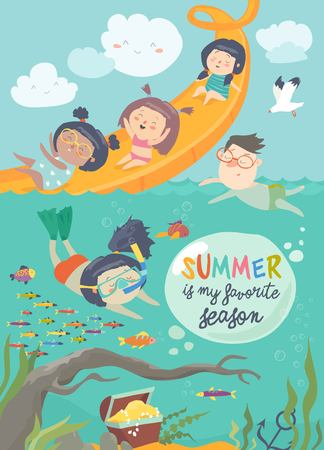 Vector design of kids playing and enjoying at waterpark in summer vacation Stock Vector - 114935072