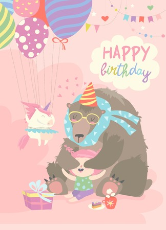 Little girl celebrating Birthday with bear. Vector greeting card