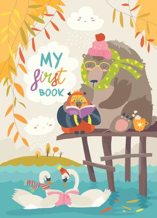 Cute bear ,owl and swans reading books in autumn forest