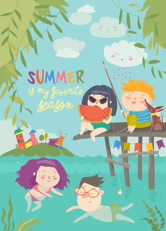 Happy children swimming on river and fishing. Summer vacation. Vector illustration