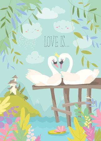 Cartoon swans in love. Fairy tale concept.