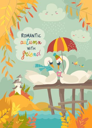 Cute romantic swans in autumn park. Vector illustration