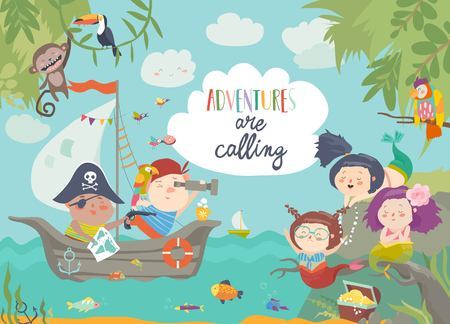 Cute pirates and beautiful mermaids. Vector illustration Çizim