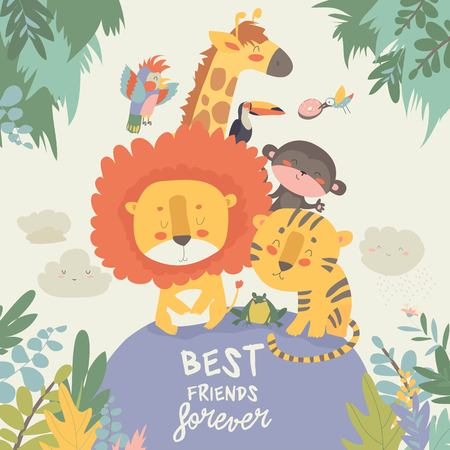 Happy jungle animals. Best friends. Vector illustration