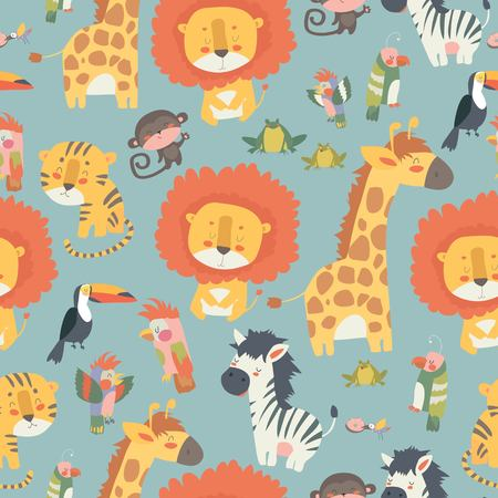 Happy jungle animals seamless pattern Vettoriali
