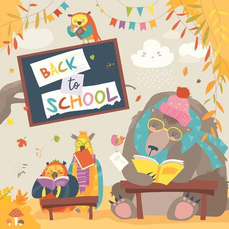 Słodki Miś i sowy i czytanie książek w jesiennym lesie. Powrót do szkoły. Ilustracja wektorowa