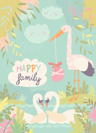 Cartoon swans in love and stork with baby. Vector illustration