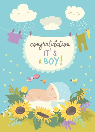 Nice card with cute baby in flowers. Vector illustration