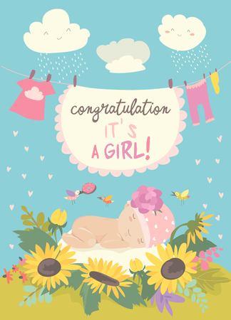 Bonita tarjeta con lindo bebé en flores. Ilustración vectorial