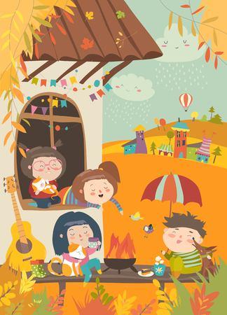 Cute friends sitting around bonfire at backyard. Vector autumn illustration