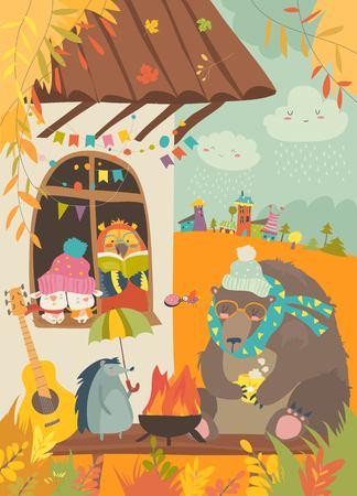 Cute animals sitting around bonfire at backyard. Vector autumn illustration